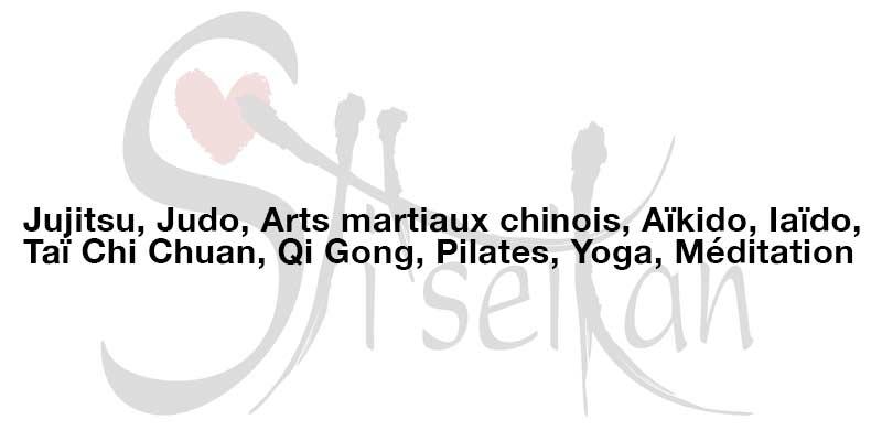 Jujitsu, Judo, Arts martiaux chinois, Aïkido, Iaïdo, Taï Chi Chuan, Qi Gong, Pilates, Yoga, Méditation, Paris